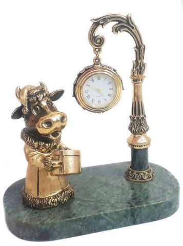 Часы «Буренка» - Символ 2021 года. Бронза