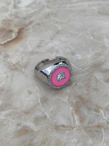 Кольцо Сайн розовое, серебро