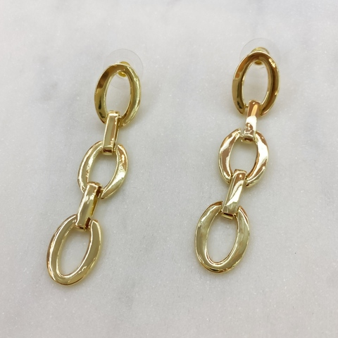 Серьги-цепи из овальных плоских звеньев (золотистый)