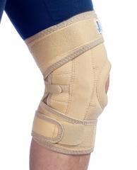Бандаж коленный с шарнирами разъемный на липучках с силиконовым кольцом сильная фиксация