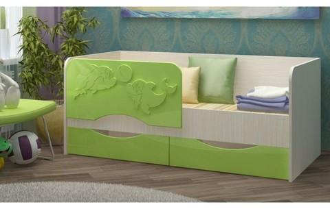 Детская кровать Дельфин-2 МДФ салатовый, 80х160