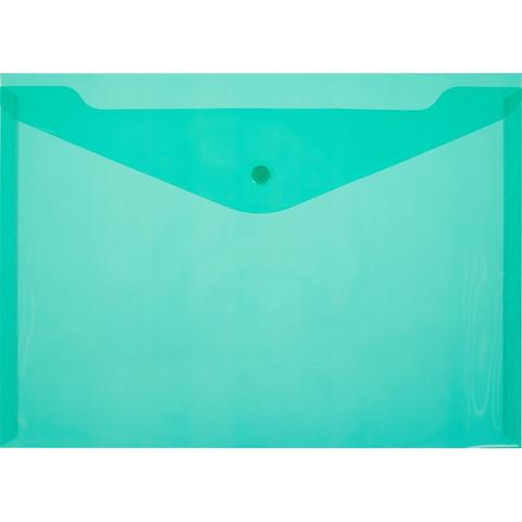 Папка-конверт на кнопке А4 зеленая 0.18 мм (10 штук в упаковке)