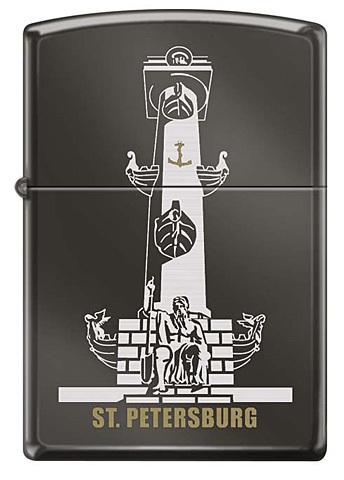 Зажигалка Zippo Ростральная колонна, латунь/сталь с покрытием Black Ice®, чёрная, 36x12x56 мм123