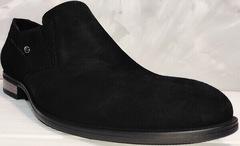 Модные туфли лоферы замшевые мужские Ikoc 3410-7 Black Suede.