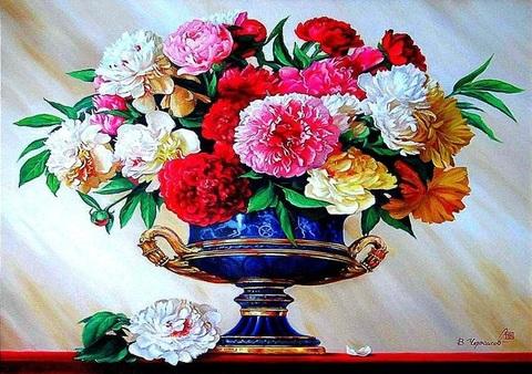 Алмазная Мозаика 40x50 Цветы в синей вазе (арт. GA75029 )