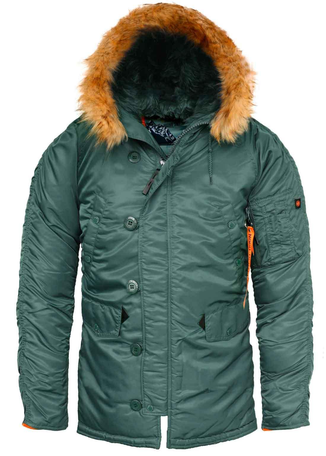 Куртка Аляска  N-3B  Husky Denali (светло-зеленая - supporo/orange)