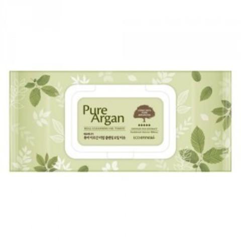 WELCOS Салфетки очищающие Ecoennea Pure Argan Real Cleansing Oil Tissue 70