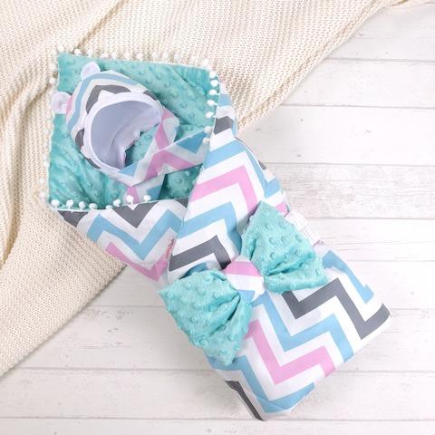 СуперМамкет. Конверт-одеяло с бантом и шапочкой Зигзаг, голубой/розовый/бирюзовый вид 1