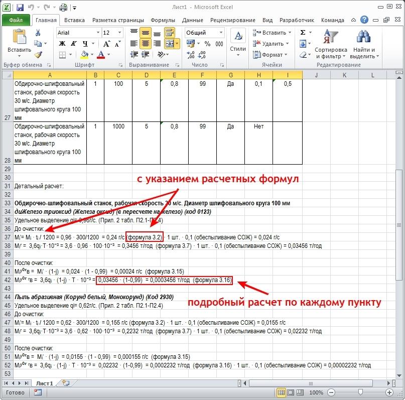 Отчет программы для расчета выбросов от металлообработки