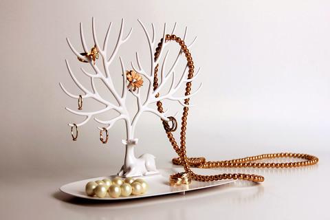 Декоративный органайзер для украшений Deer малый белый
