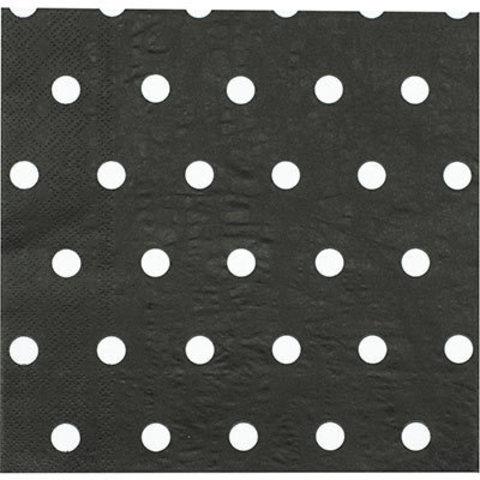 1502-3937 Салфетки Горошек черные 33см, 12шт