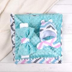 СуперМамкет. Конверт-одеяло с бантом и шапочкой Зигзаг, голубой/розовый/бирюзовый вид 2