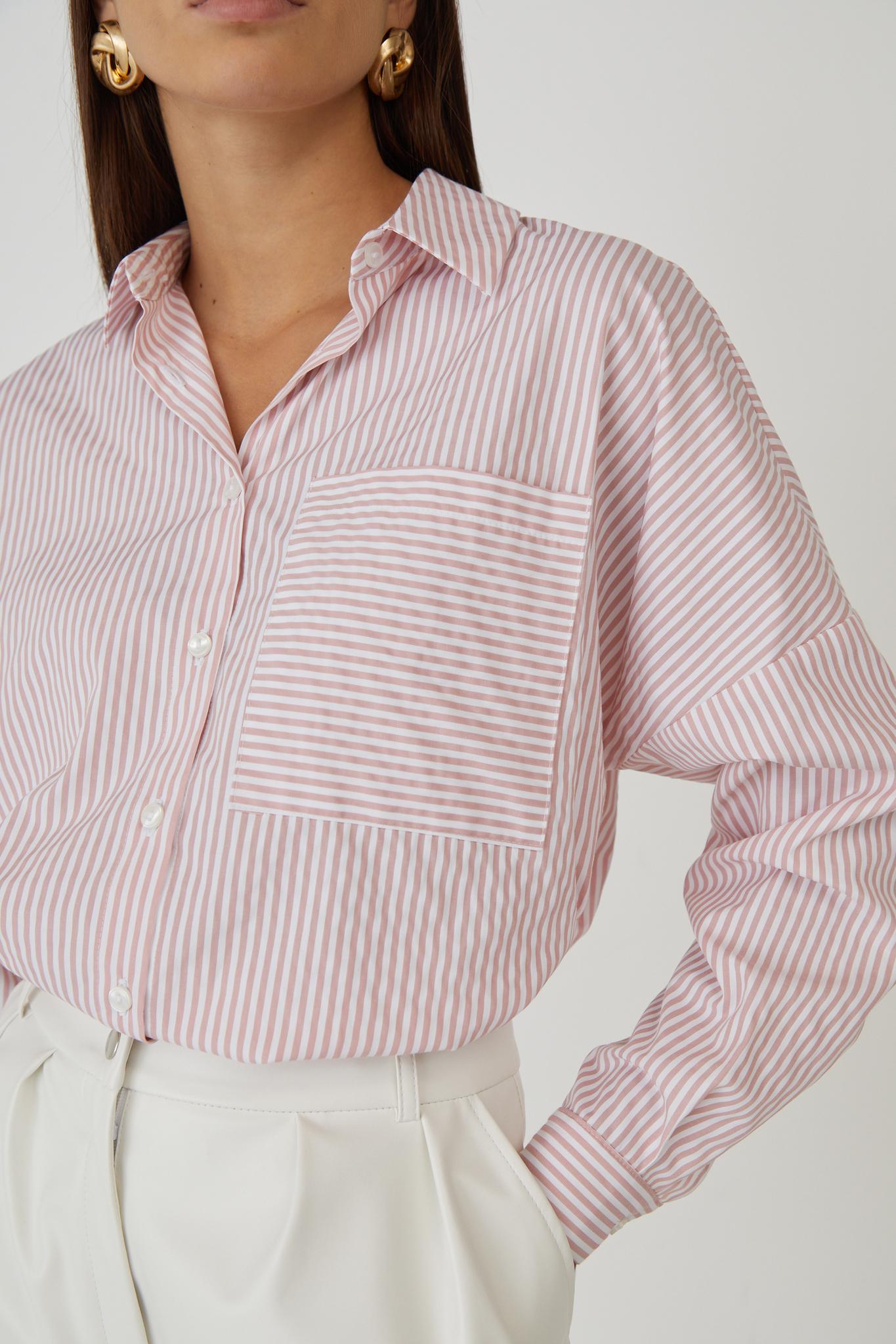 Хлопковая рубашка с карманом (oversize) (розовая полоска)