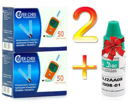 2 упаковки тест-полосок Клевер Чек универсальные + контрольный раствор клевер - чек