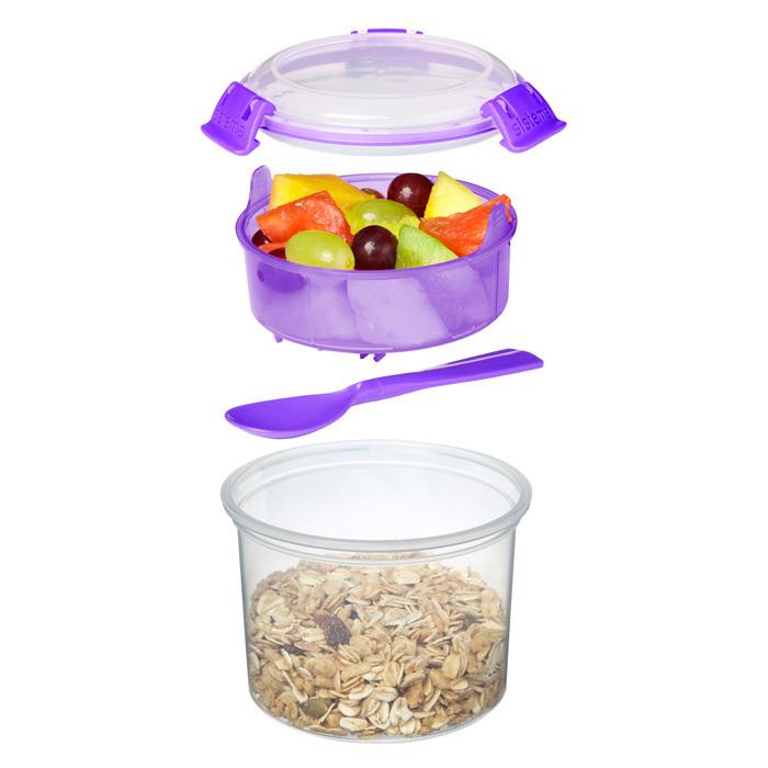 """Ланч-бокс с ложкой Sistema """"Breakfast TO GO"""", двойной, 530 мл, цвет Фиолетовый"""