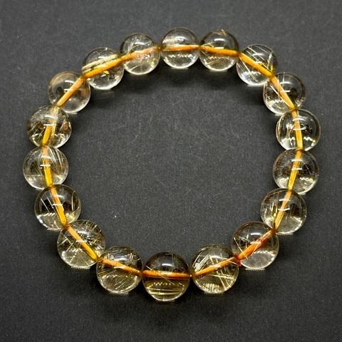 Бусины кварц рутиловый А золотой шар гладкий 11,3-11,5 мм 18 бусин