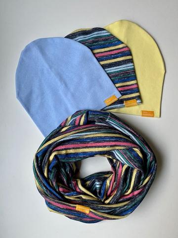 Комплект в полоску с желтым и голубым