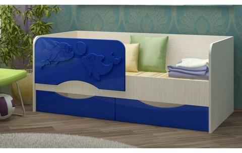 Детская кровать Дельфин-2 МДФ, тёмно-синий, 80х160