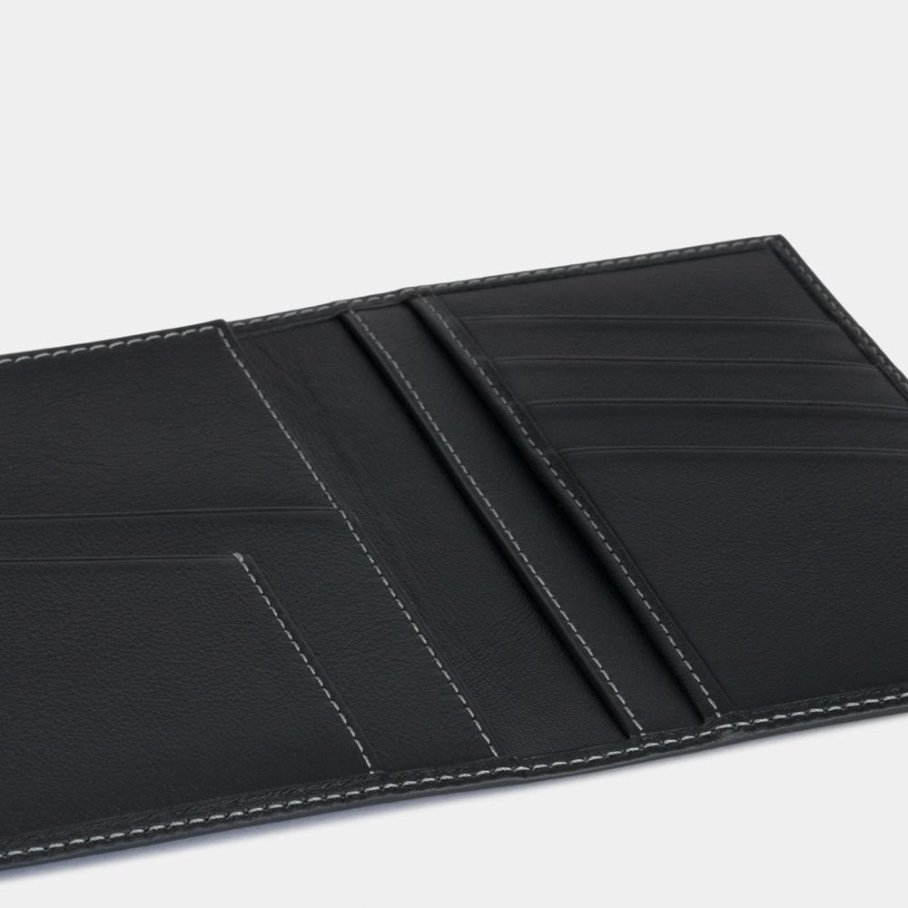 Обложка для паспорта и автодокументов Paris Easy из натуральной кожи теленка, черного цвета