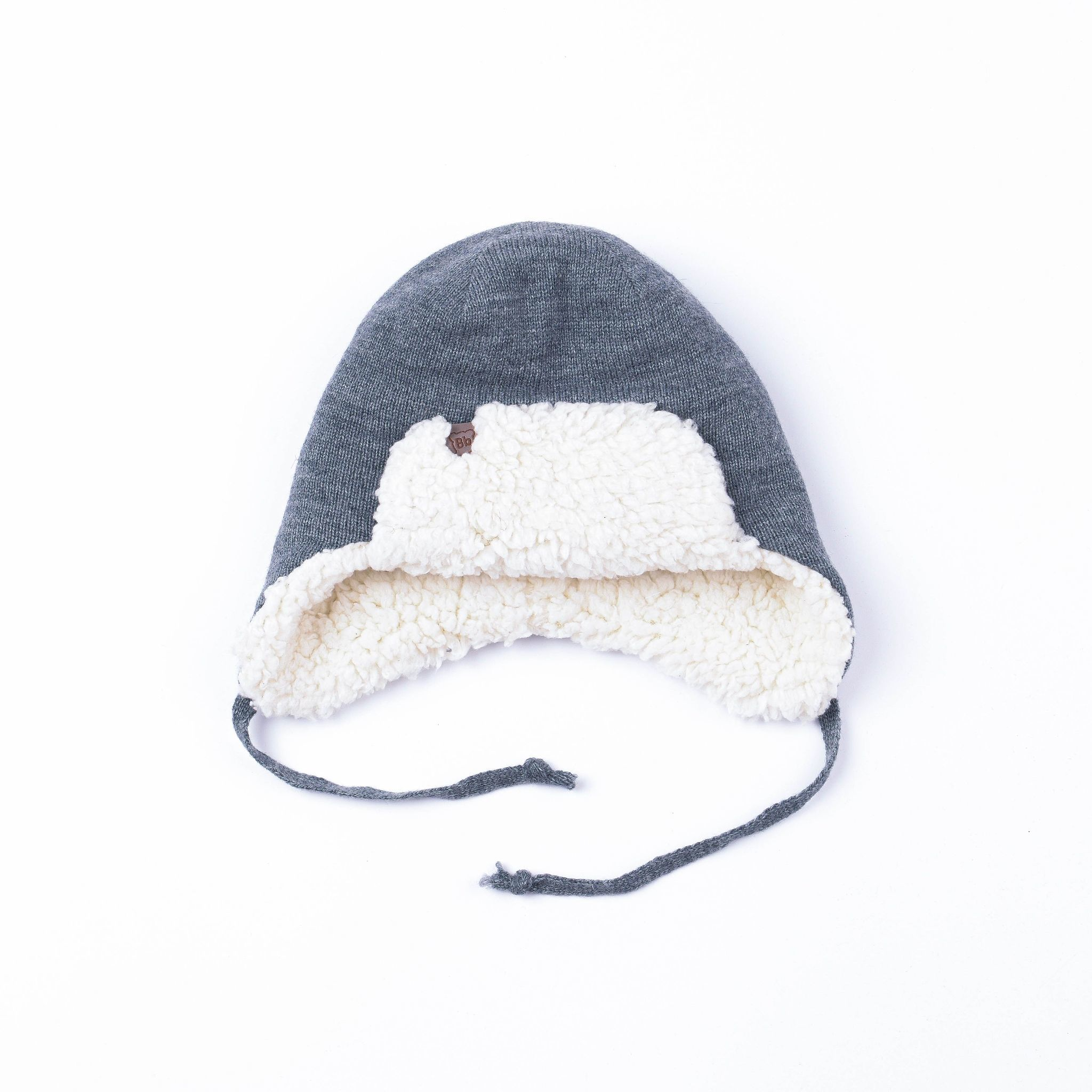 Earflapped hat with fur lining - Graphite Melange
