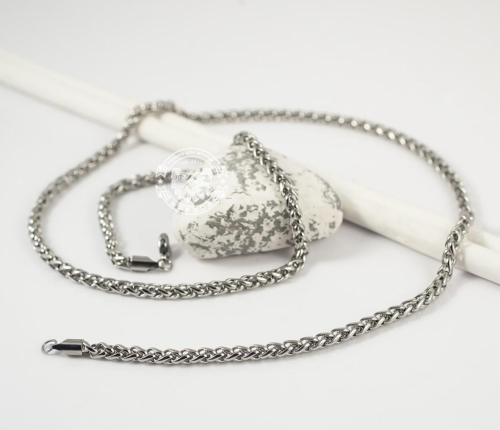 PM215-1 Красивая мужская цепочка из ювелирной стали интересного плетения (4 мм) фото 04