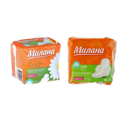 Прокладки женские гигиенические Милана Classic Normal Soft,10 шт/уп 2620817