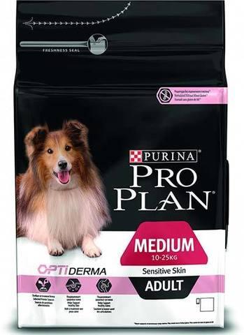 18 кг. PURINA PRO PLAN Сухой корм для взрослых собак с чувствительной кожей и желудком с лососем и рисом Medium Adult Sensitive Skin Opti Derma