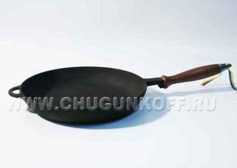 Сковорода с деревянной ручкой и рифлёной поверхностью 200х35