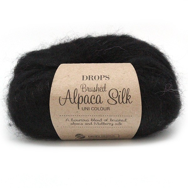 Пряжа Drops Brushed Alpaca Silk 16 черный