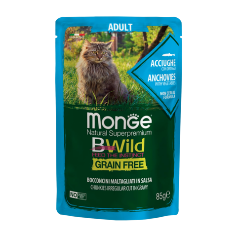 Monge Cat Bwild Grain Free Консервы для взрослых кошек из анчоусов с овощами, беззерновые (пауч)