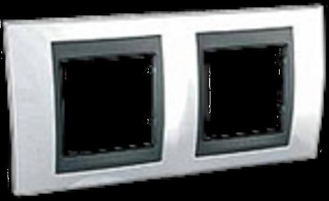 Рамка на 2 поста. Цвет Нордик-графит. Schneider electric Unica Top. MGU66.004.292
