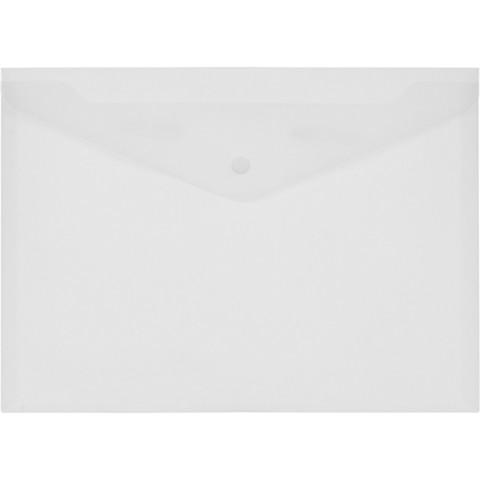 Папка-конверт на кнопке А4 прозрачная матовая 0.18 мм (10 штук в упаковке)