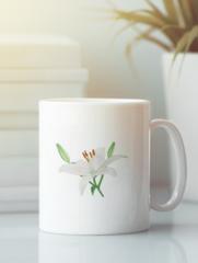 Кружка с изображением  Цветы (Лилии) белая 0010