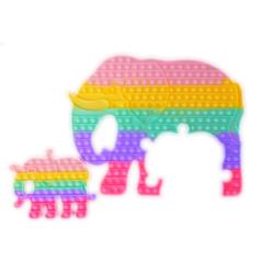 Пупырка вечная антистресс pop it (поп ит) радужный слон двойной огромный 45 см (пазл)