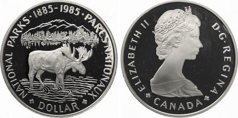 1 доллар. 100 лет Национальным паркам. Канада. Серебро. 1985 год. Proof