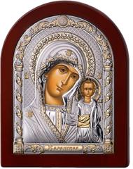 Серебряная икона Богоматерь Казанская (прозрачный лак, повышенное качество!)