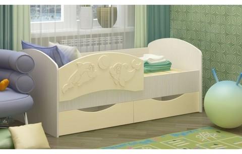Детская кровать Дельфин-3 МДФ ваниль, 80х160