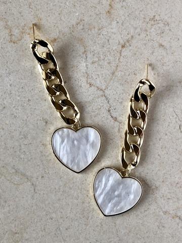 Серьги Лоренса с перламутровым сердечком, позолота
