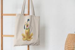 Сумка-шоппер с принтом Микки Маус, Гуфи  (Mickey Mouse, Goofy) бежевая 0011