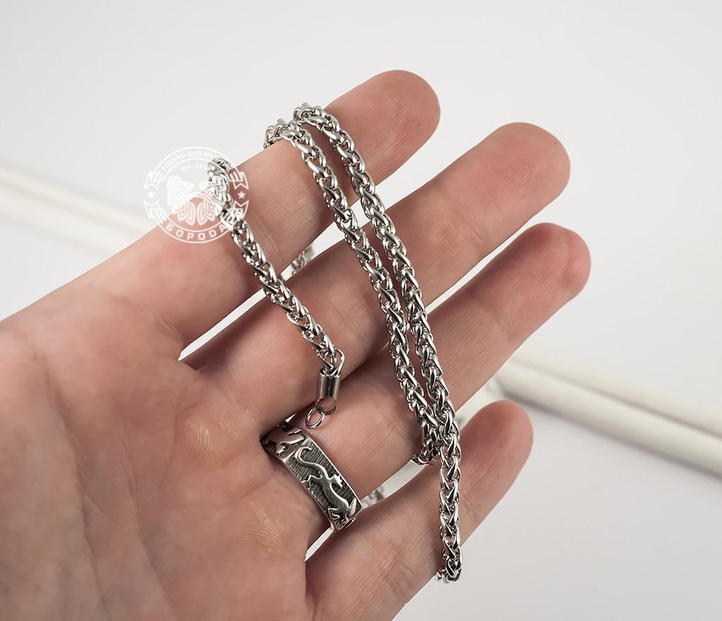 PM215-1 Красивая мужская цепочка из ювелирной стали интересного плетения (4 мм) фото 05