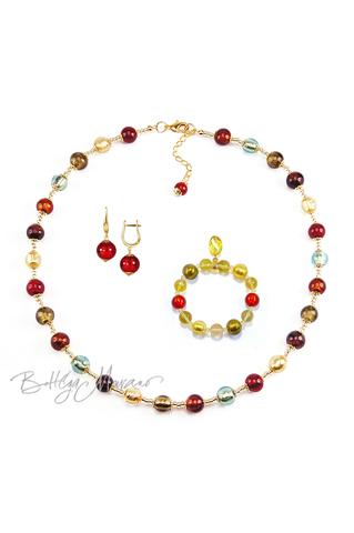 Комплект Carnavale Oro (красные серьги на серебре, золотистый браслет, ожерелье)