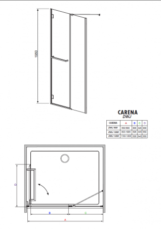 Дверь для душа RADAWAY Carena DWJ 90 34302-01-08N L/R