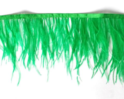 Тесьма  из перьев страуса h 10-15 см.,зеленый