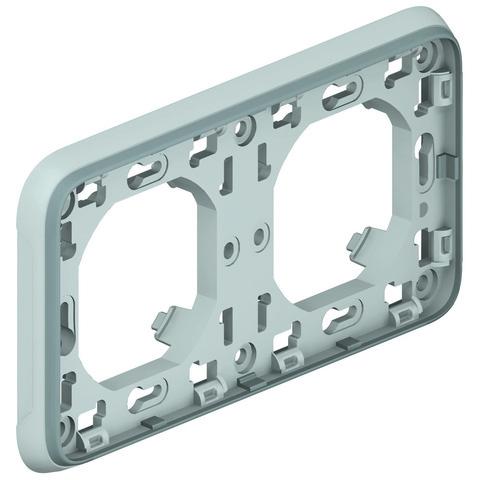 Рамка на 2 поста с суппортом для встроенного монтажа. Цвет Cерый. Legrand Plexo (Легранд Плексо). 069683