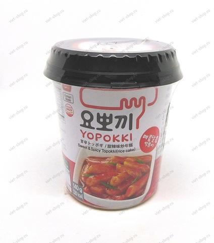 Корейские рисовые клецки с остро-сладким соусом (Топокки) в стакане, 140 гр.