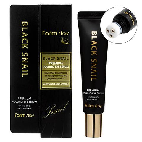 Антивозрастная сыворотка роллер для кожи вокруг глаз с муцином улитки Black Snail Premium Rolling Eye Serum FarmStay