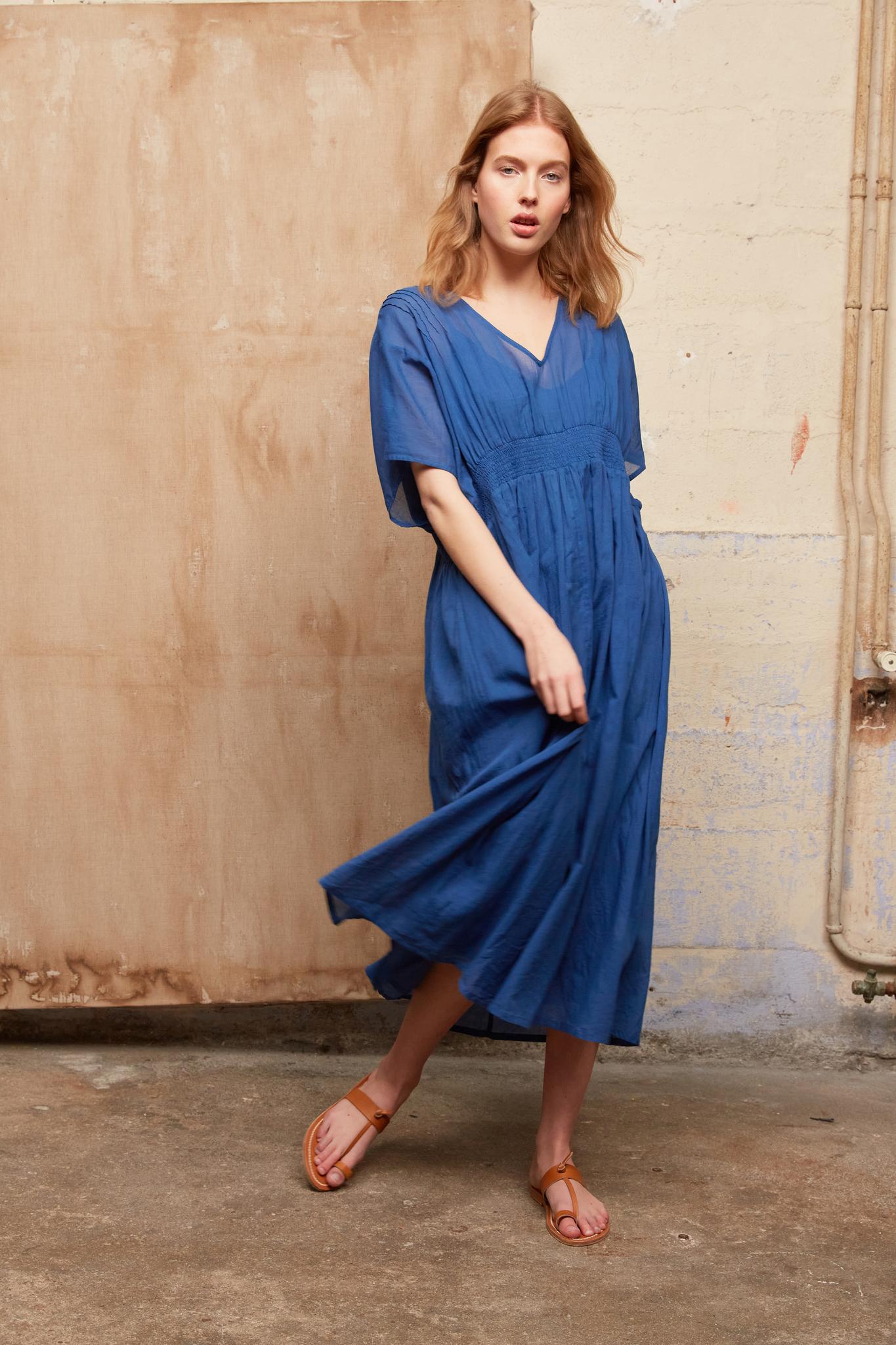 SEVILLE - Платье миди из хлопковой легкой ткани с V-образным вырезом