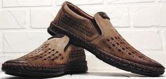 Мужские кожаные туфли мокасины летние смарт кэжуал мужской Luciano Bellini 91737-S-307 Coffee.