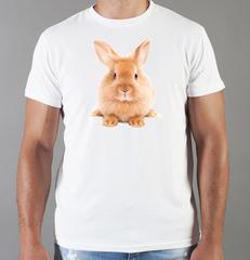 Футболка с принтом Заяц (Кролик) белая 009