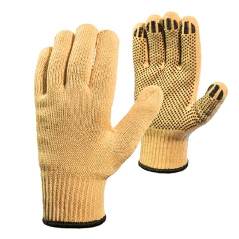Трикотажные перчатки из пара-арамидной нити «Кевлар» плотные с силиконовой сеткой (КНДР)